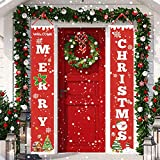 : OTSUN Christmas Porch Sign Merry Christmas Hanging Banner for Welcome Christmas Decoration Outdoor Indoor Red Xmas Decor Banners for Home Wall Holiday Party Decor
