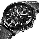 Fashion Quartz Watches Chronograph Sport Wristwatch with Black Leather Strap Waterproof