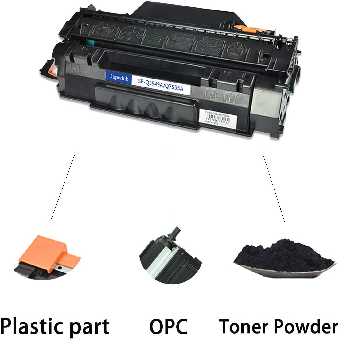 Black, 2-Pack SuperInk Compatible Toner Cartridge Replacement for HP 53A Q7553A to use with Laserjet P2015 P2015d P2015dn P2015x M2727 M2727nf M2727nfs MFP