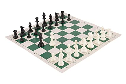 Sportscart International Chess Set- Green/White Roll on Board + Solid Coins- with Pouch