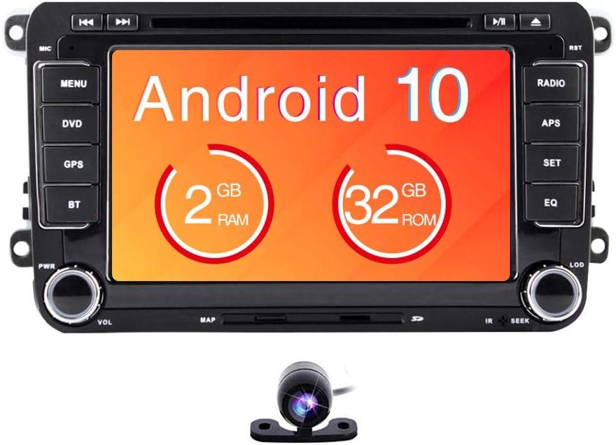 Radio estéreo para coche Android 9.0, 2Din, pantalla táctil HD de 7 pulgadas, reproductor de DVD, navegación GPS paraVW Golf Polo Passat Tiguan Jetta con WiFi, Bluetooth, monitor externo: Amazon.es: Electrónica