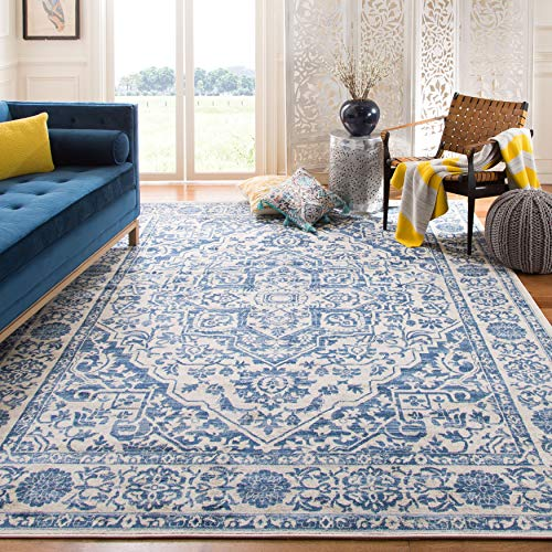Safavieh Brentwood Collection BNT832M Medallion Distressed Non-Shedding Stain Resistant Living Room Bedroom Area Rug, 8…