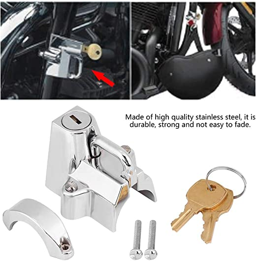 Universal Motorcycle Helmet Lock Handlebar Hanger Hook /& 2 Keys Chrome Set