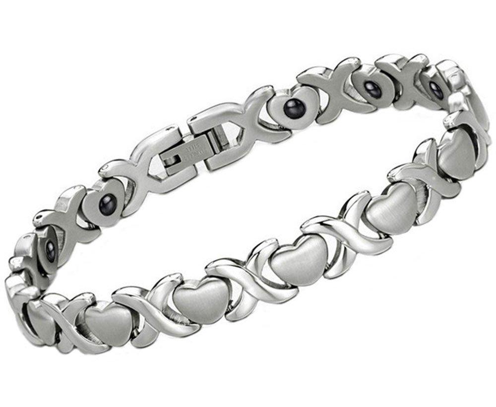 YISSION Women's Power Ionics Titanium Magnetic Bracelet Balance Band Energy Sweet Heart Style
