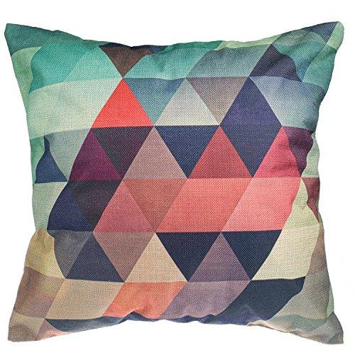 Luxbon Funda Cojín Almohada Lino Duradero Figura Geométrica Multicolor Decoración para Sofá Cama Coche 18x18 45x45 cm