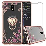 EBESTAR Samsung Galaxy J7 Refine Case, Galaxy J7 2018 Case, J7 V 2rd Gen(Verizon)/J7 Aero/J7 Top/J7 Duo/J7 Eon/J7 Star/J7 Crown, Bling Glitter Metal Stand Ring Clear Cover with Tempered Glass, Heart