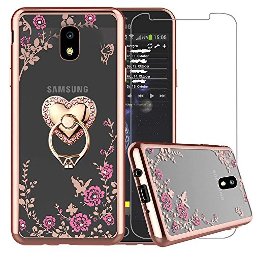 Samsung Galaxy J7 Refine Case, Galaxy J7 2018 Case, J7 V 2rd Gen(Verizon)/J7 Aero/J7 Top/J7 Duo/J7 Eon/J7 Star/J7 Crown, Bling Glitter Metal Stand Ring Clear Cover with Tempered Glass, Heart
