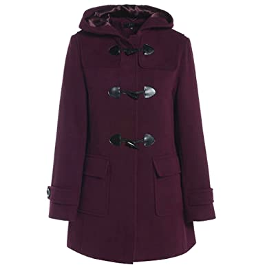Myshoestore Womens Duffle Wool Coat WinteHooded Toggle Jacket 10 Wine