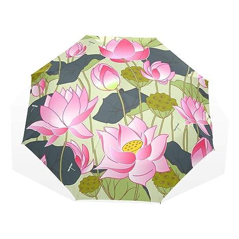 Amazoncom Anmarco Blooming Pink Lotus Flowers Travel Umbrella