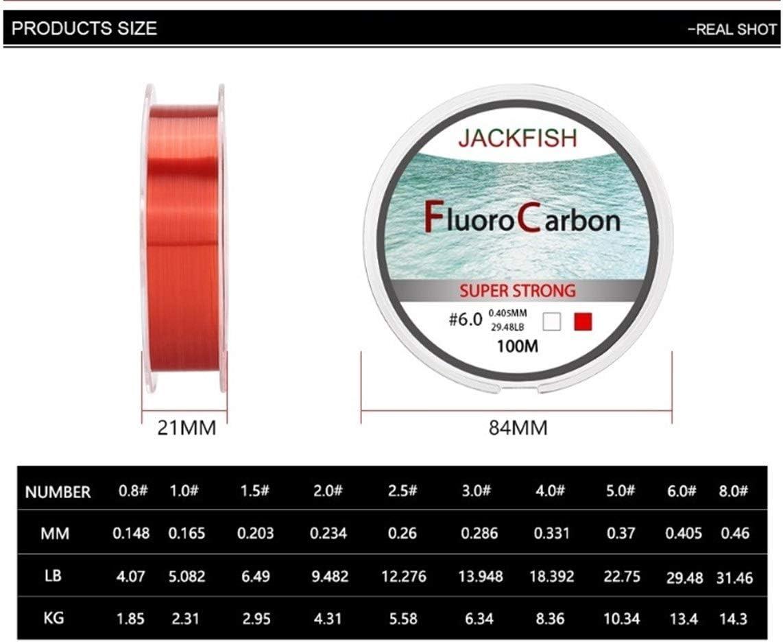 Jackfish 100 M Fluorocarbone Ligne De Pêche rouge//clair deux couleurs 4-32 LB Carbone