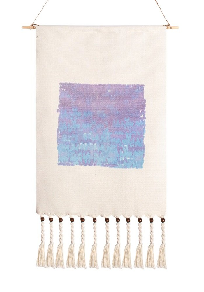 Hand Woven Cotton Geometric Print Decorative Tapestry With Tassel (Glacier, 15'' 3/4 by 23'' 2/3)