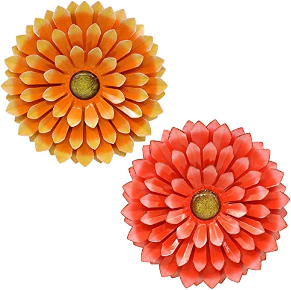 Large Metal Flower Garden Wall Decor Outdoor Hanging Decoration for Patio Bedroom Living Room Office, Orange (Red&Orange)