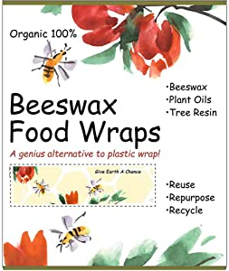 Beeswax Food Wrap - A Reusable Plastic Free Alternative Food Storage for Produce, Snacks, Sandwiches - Bee's Wraps are Zero Waste Kitchen Products, Eco Friendly, Sustainable (Bees & Flowers)