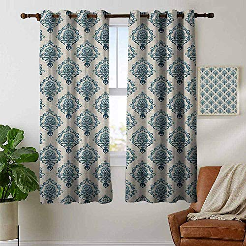 petpany Curtains for Bedroom Damask,Nostalgia Themed Composition with Baroque Blooms and Hand Writing Backdrop, Tan Petrol Blue Curtain Panels for Bedroom & Kitchen,1 Pair 42