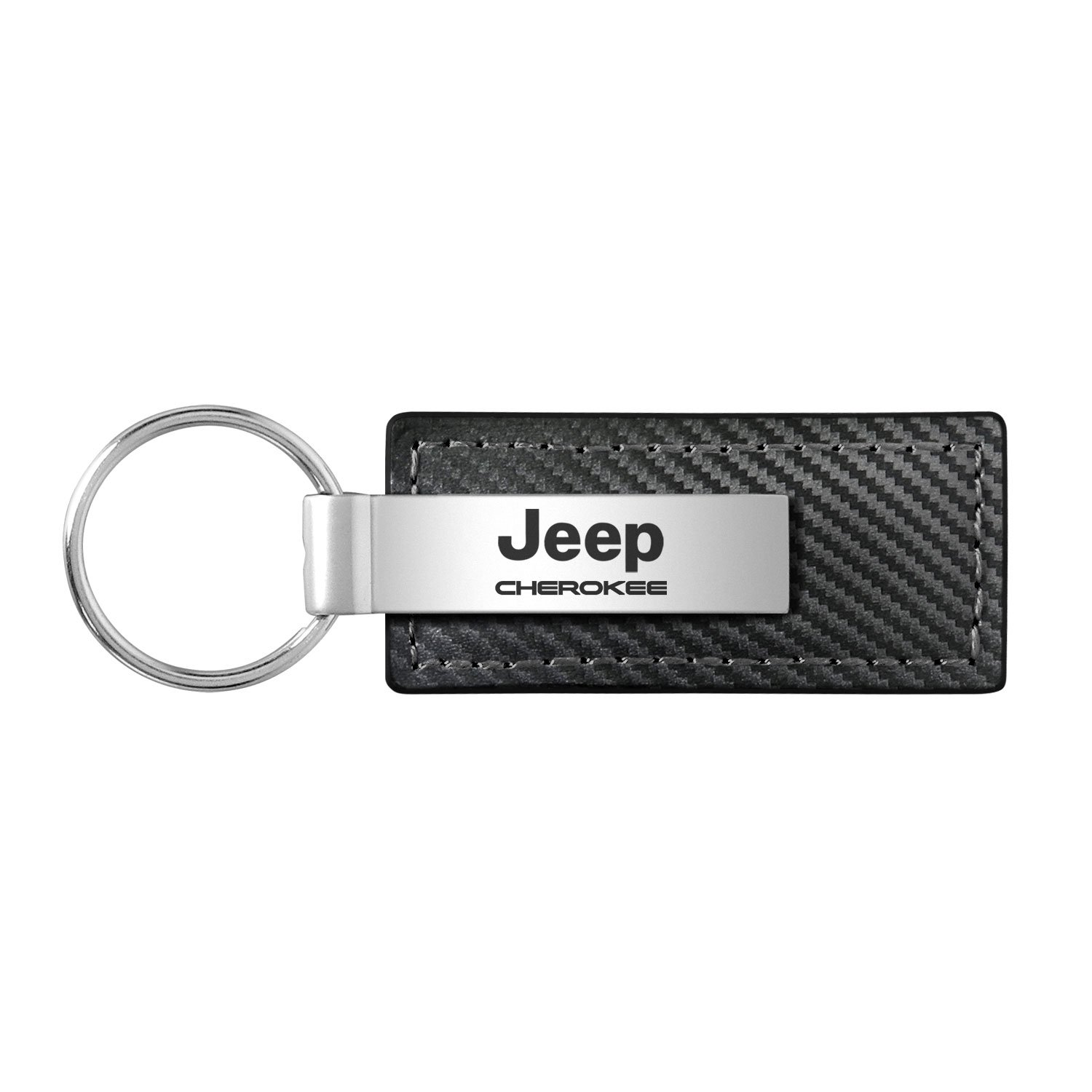 Jeep Cherokee Black Carbon Fiber Texture Leather Key Chain INC Au-Tomotive Gold