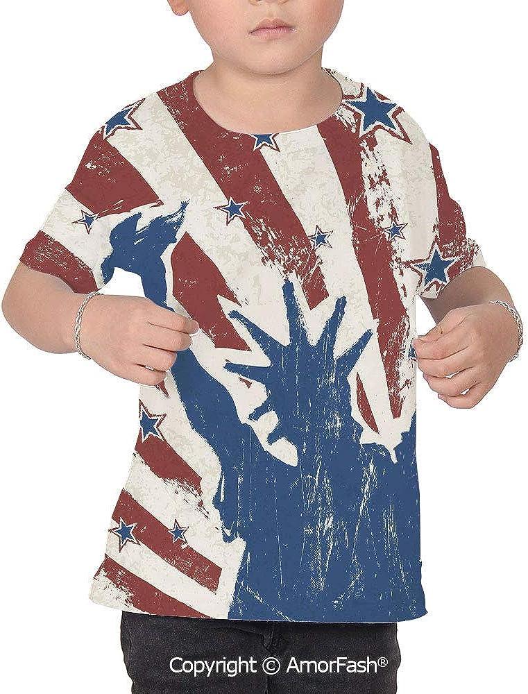 PUTIEN 4th of July Decor Girl Short-Sleeve Crewneck Polyester T-Shirt,Retro