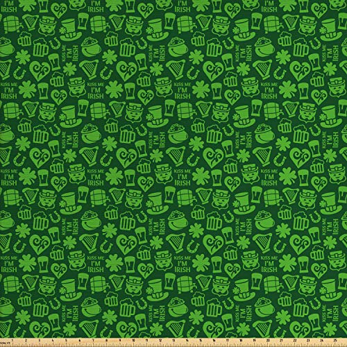Ambesonne Irish Fabric by The Yard, Kiss Me I'm Irish Humorous Phrase with Ale Shamrocks Hats Traditional, Decorative Fabric for Upholstery and Home Accents, 2 Yards, Lime Green Green