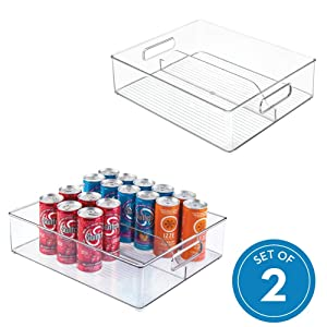 interDesign Refrigerator and Freezer Divided Storage Container - Organizer Bin for Kitchen, Set of 2 Clear