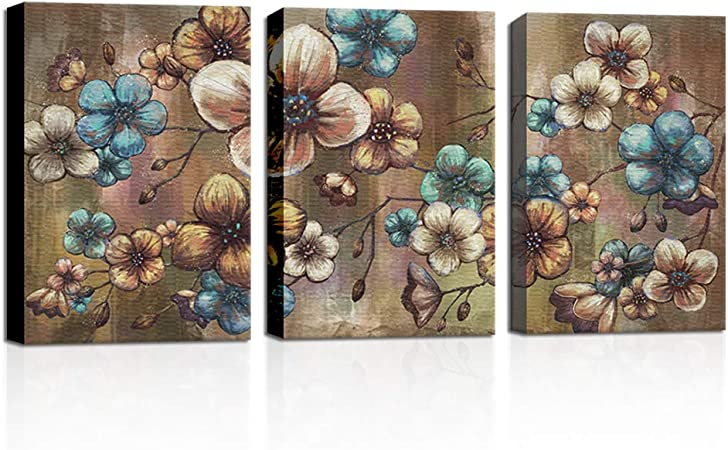 Amazon Com Vividhome Vintage Wall Art Turquoise And Brown Flowers Bedroom Decor Blossom Floral Kitchen Bathroom Living Room Decoration 16x24inx3 Panels Framed Ready To Hang Posters Prints
