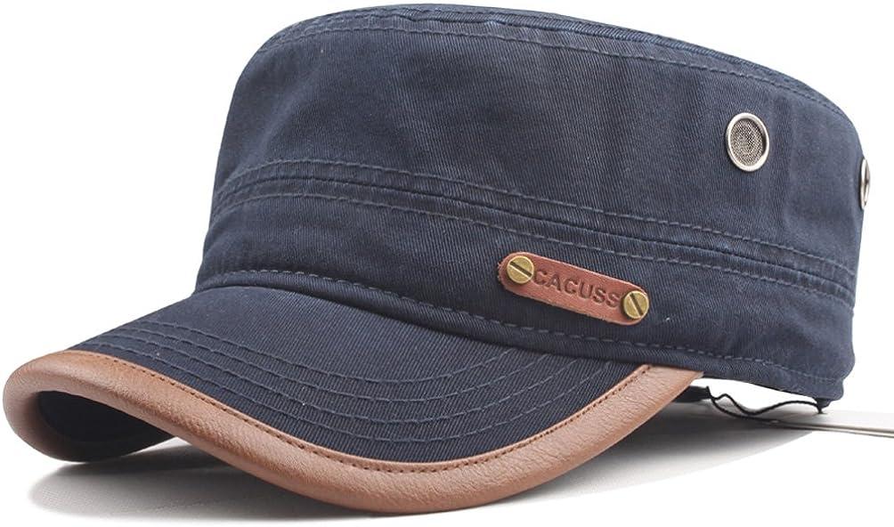 CACUSS Gorra Militar de algodón para Hombres Sombrero cadete Gorra de béisbol Ajustable Militar Plana Superior