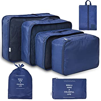 Amazon.com: Juego de 7 cubos de embalaje de viaje ...