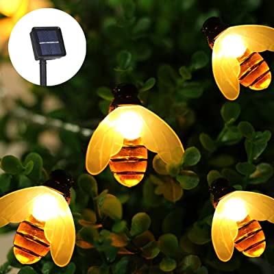 GOODIA Solar String Lights 20ft 30 Led Solar Powered Honey Bee Fairy Lights Waterproof Garden Decorations, Hanging String Lights for Xmas, Grass, Lawn, Garden (Warm White): Home Improvement