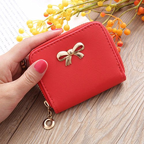 klein Single Pull Solide Zipper Bow Kleine Quadratische Tasche Münztüte Geldbörsen (Pink) Red