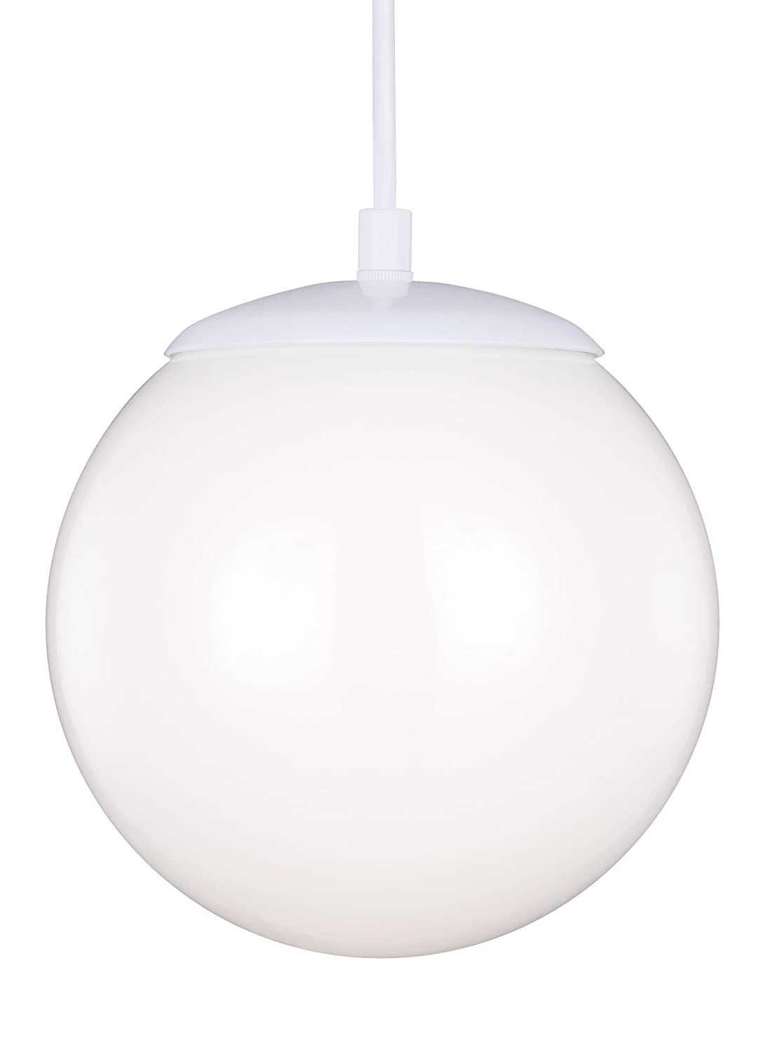 300bb6277c1 Sea Gull Lighting 6020-15 Hanging Globe One-Light Pendant with Smooth White  Glass Diffuser, White Finish - Ceiling Pendant Fixtures - Amazon.com