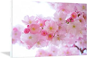 Looife Canvas Wall Art - 12x18 Inch Romantic Pink Cherry Sakura Flower Picture Prints Wall Decor for Girls Room, Ready to Hang