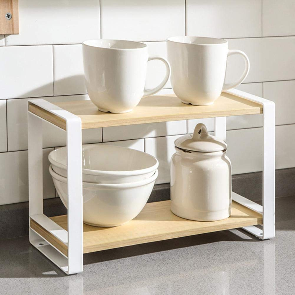 learnarmy Kitchen Countertop Organizer Holder Rack 2-Tier Wooden Spice Herb Rack Multifunction Spice Holder Free Standing Seasoning Storage Rack for Spice Jar Can Bottle and More excellent ingenious