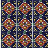 "Color y Tradicion 9 Mexican Tiles 4"" x 4"" Hand Painted Talavera C152"