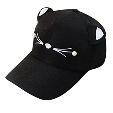 ae1726dcaaa Turkey Fashion Baseball Cap Tide Pearl Wild Cute Student Cat Ears Visor  Golf Caps (Black)  Amazon.co.uk  Clothing