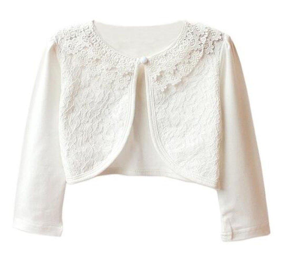 Luckyauction Girls' Long Sleeve Lace Bolero Cardigan Shrug ,White,3-4Y/tag110