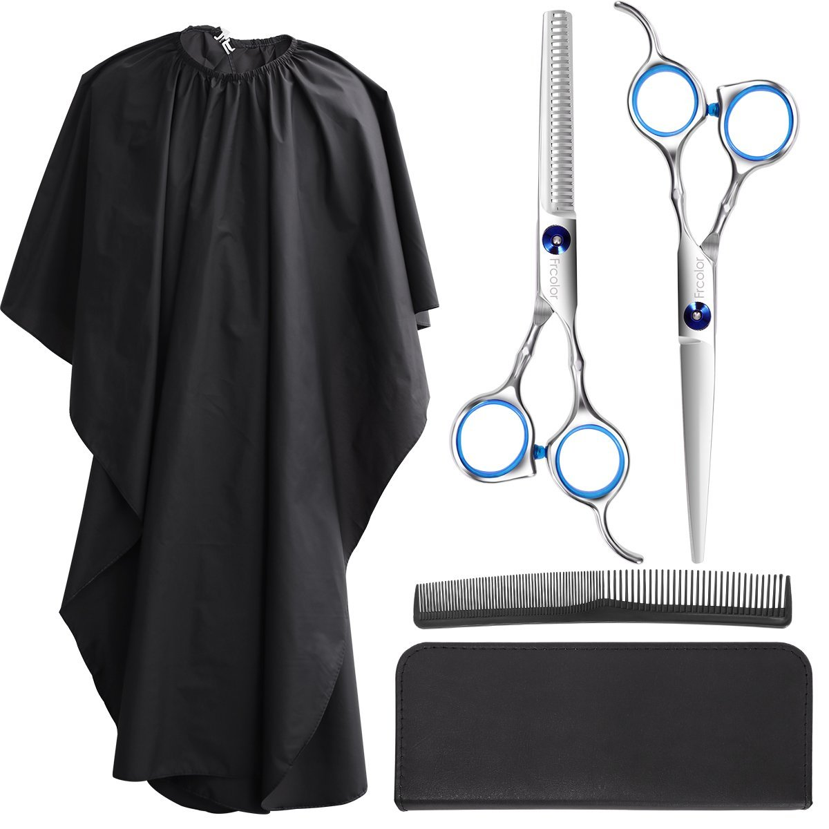 Frcolor Hair Cutting Scissors Set, Professional Haircutting Scissors Barber Thinning Scissors Hairdressing Shears Set with Black Leather Case and Salon Cape by FRCOLOR