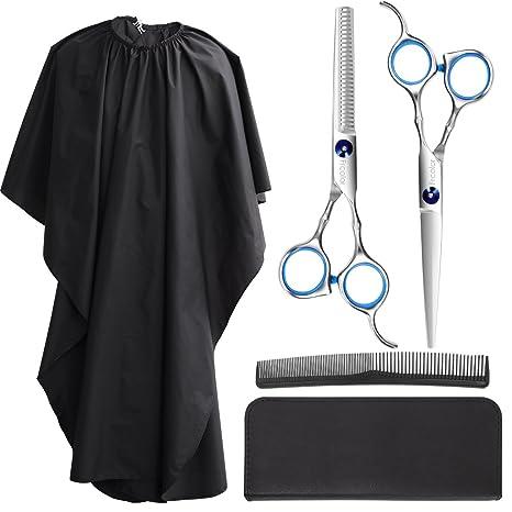 Juego de tijeras de corte de pelo Frcolor, de acero inoxidable premium, con peine y funda negra y capa de peluquería para uso profesional y doméstico