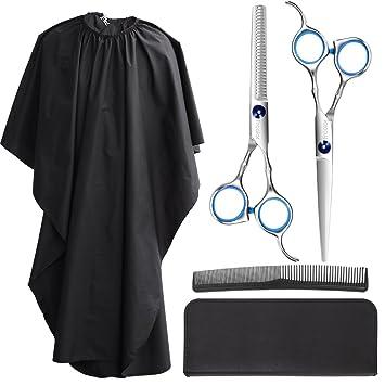 Frcolor Haarschere Set Edelstahl Haarschneide Scheren Haar Effilierschere Mit Barber Cape Friseurschere Set Haarschere Fur Manner Frauen Kinder