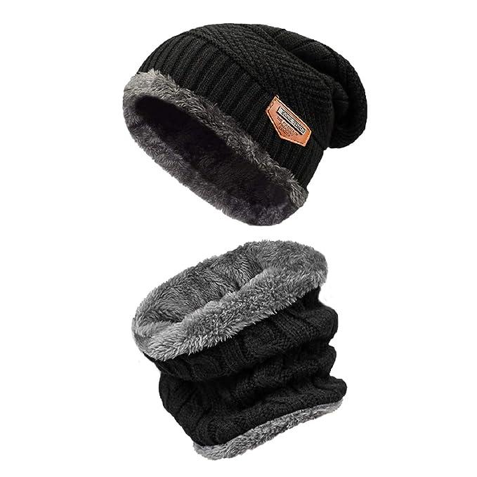 be116de18b9b Bufanda Gorro Invierno un Conjunto Tejer Beanie Gorro Cálido Sombrero Más  Grueso con Bufanda Para Hombre Mujer