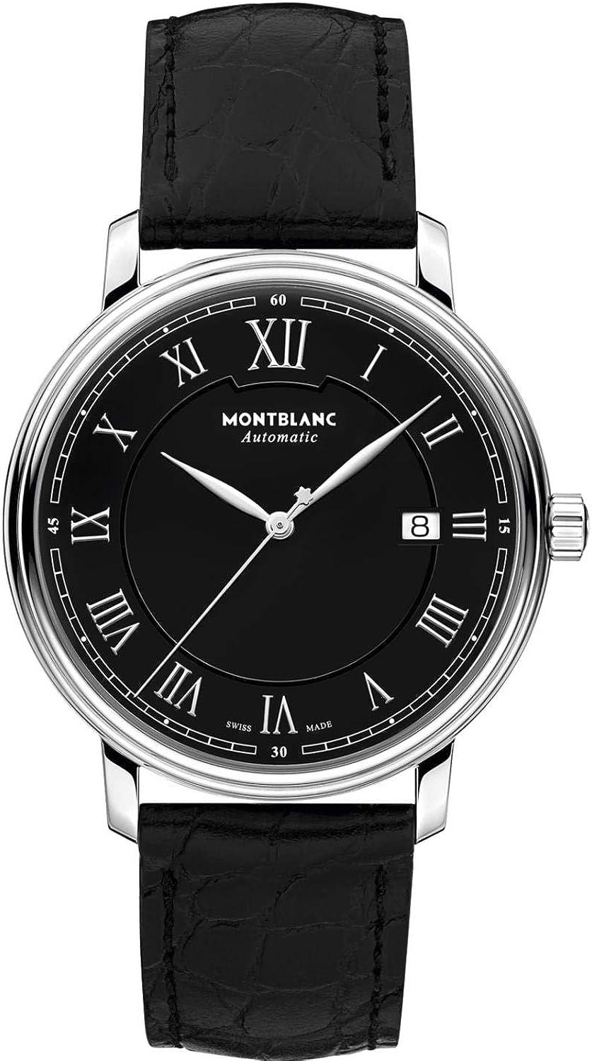 Montblanc Tradition Date Automatic - Reloj (Reloj de Pulsera, Masculino, Acero Inoxidable, Acero Inoxidable, Cuero, Negro)