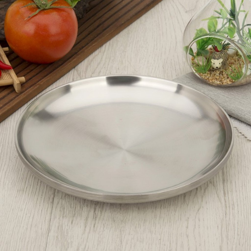Baoblaze Round Serving Platter, Large Stainless Steel Serving Tray - Quality Serveware for Home & Restaurant, Great for Parties by Baoblaze