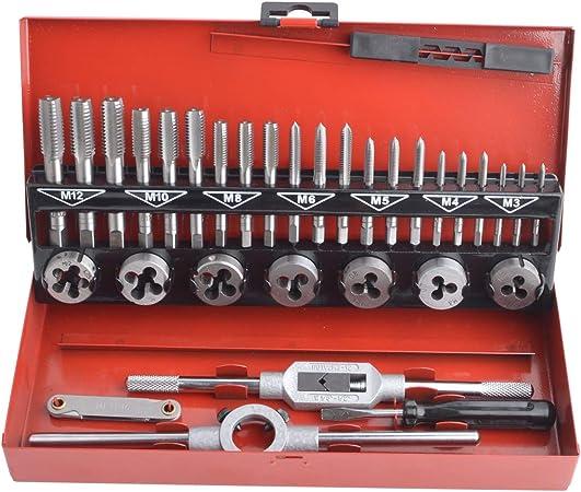 Gunpla Coffret Tarauds et Fili/ères M/étrique 40 Pi/èces M3-M12 en Acier Kit Tarauds /à Goujure Fili/ères de Filetage Extracteurs de Vis