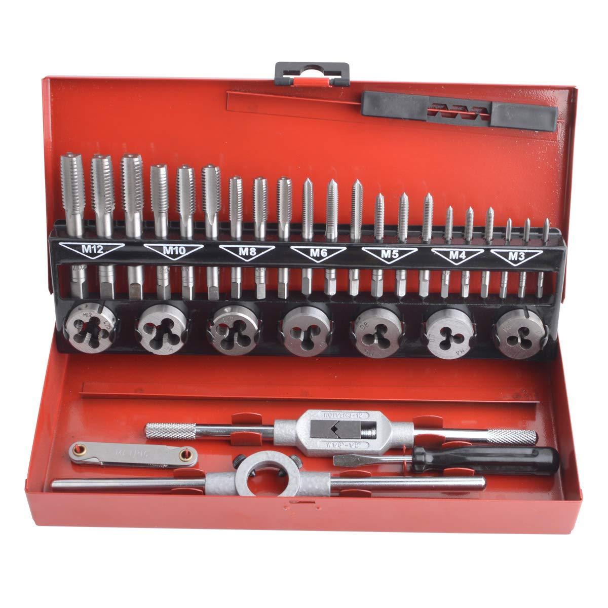 Gunpla Juego de Terrajas y Machos Mé trica M3-M12 Herramientas para Roscar Material Acero de Tungsteno, 32 Piezas
