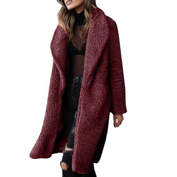 Damen Mantel Lose Revers Faux Wolle Für Jacke Outwear Einfarbig Offene Langarm Cardigan Winterjacke Frauen Mode Lang Teddy Fleece Coat Elegant Warm