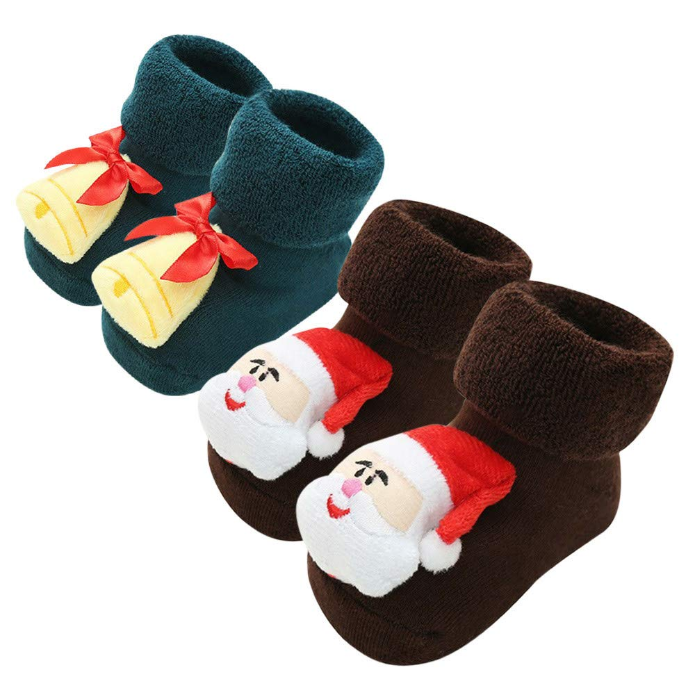 2Pairs Christmas Baby Socks, Zerototens Toddler Infant Baby Boys Girls Cartoon Deer Santa Tree Winter Thermal Fleece Socks Kids Anti-Slip Knitted Boots Socks 0-12 Months