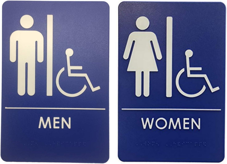 Men's and Women's Restroom Signs, ADA-Compliant Bathroom Door Signs for Offices, Businesses, Restaurants | Made in USA