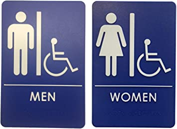Amazon Com Men S And Women S Restroom Signs Ada Compliant Bathroom Door Signs For Offices Businesses Restaurants Made In Usa Office Products
