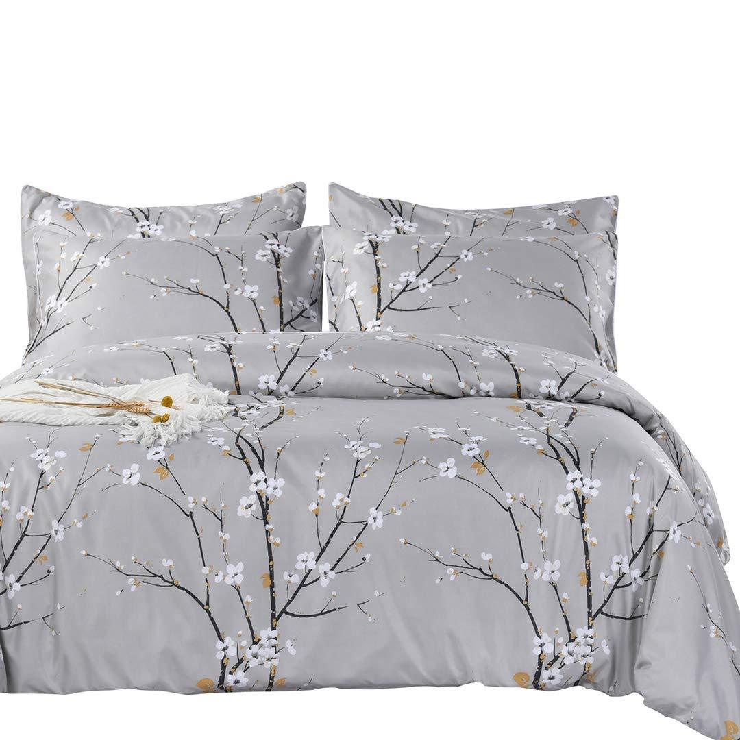 SexyTown Spring Bloom Pattern Comforter Set Queen (90''x90'') Soft Microfiber Inner Fill Bedding Lightweight Tree Branch Floral Reversible Comforter 3-Piece Set All Season by SexyTown