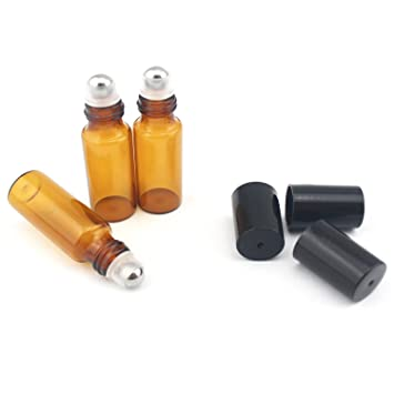 c760fc5adce0 Amazon.com : 3ml /0.1OZ Amber Glass Roller Bottles- Roll Bottle With ...