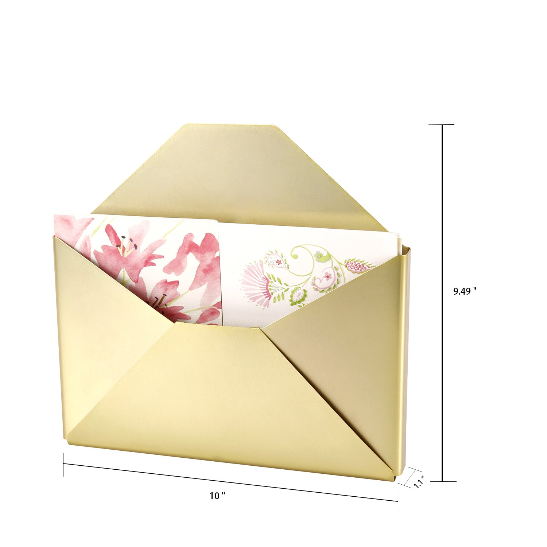 Amazon.com : DESIGNA Brass Wall Envelope Organizer, Pocket Letter ...