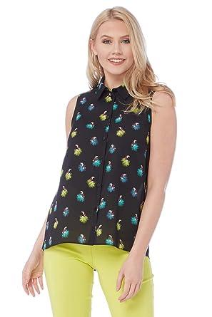 88f7e8bb2b06a9 Roman Originals Women Tropical Bird Print Blouse - Ladies Daytime  Sleeveless Button Down Work Office Smart Interview Business Formal Tops  Black  ...