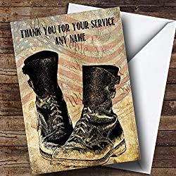 Army Boots American Flag Personalized Retirement Greetings Card